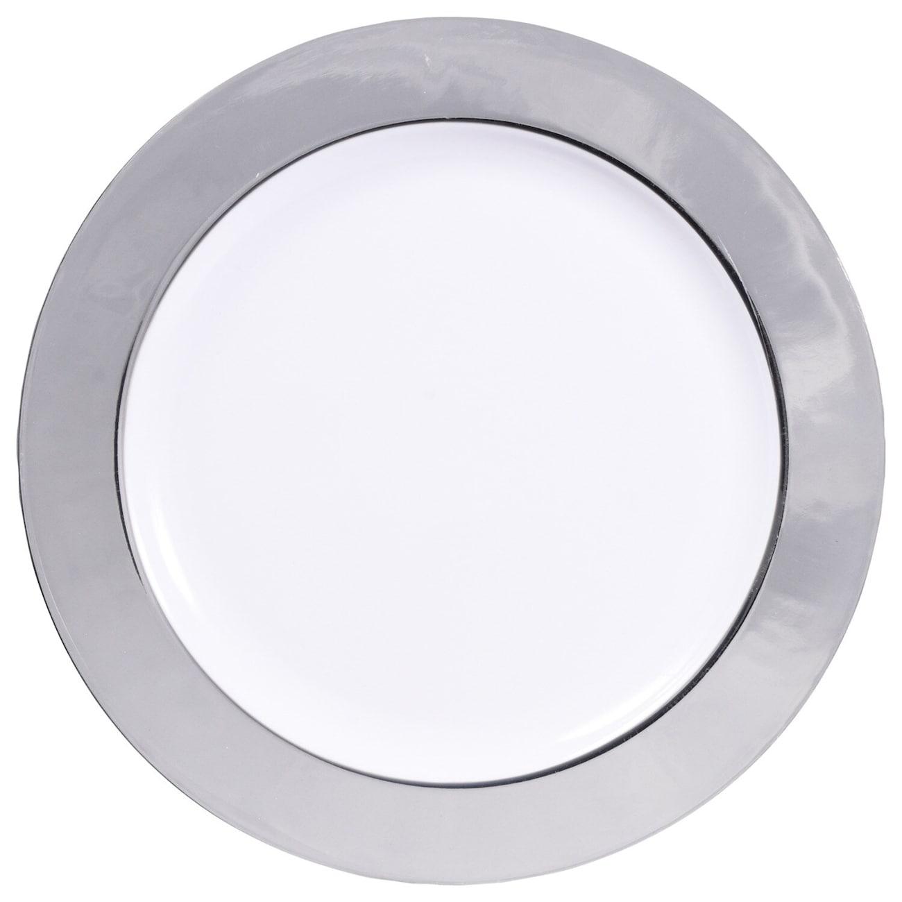 Silver Rimmed White Plastic Dinner Plates 1025 In 4 Ct Packs