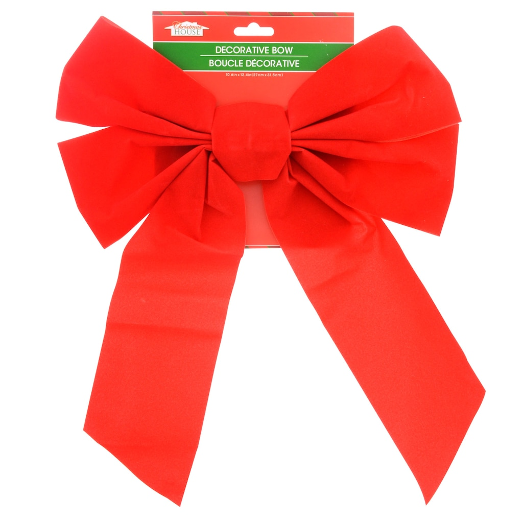 christmas house large red velvety bows - Red Christmas Bows