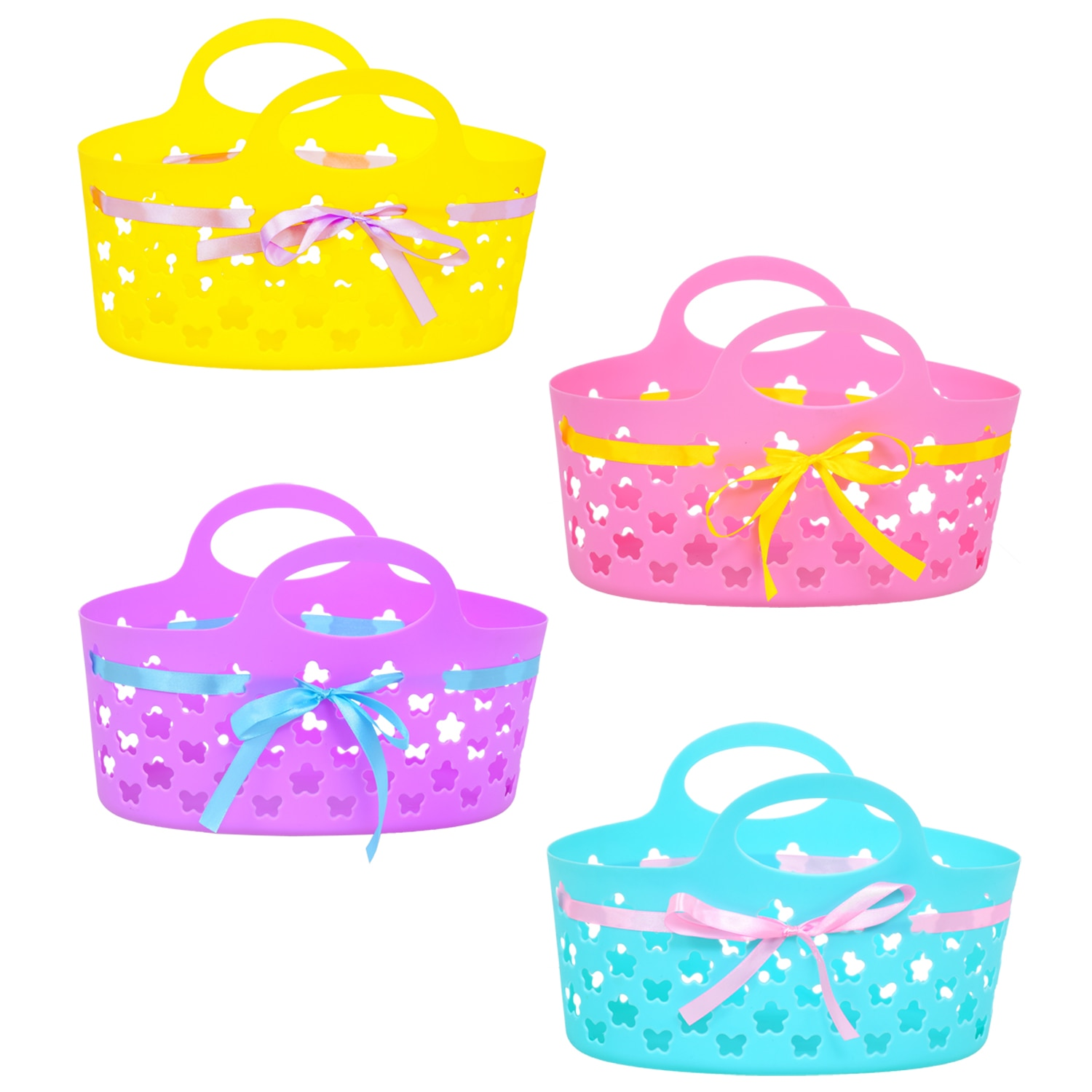 Oval Plastic Baskets with Ribbons