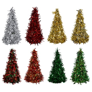 166207-Christmas House Cone-Shaped Tinsel Trees, 10 in.