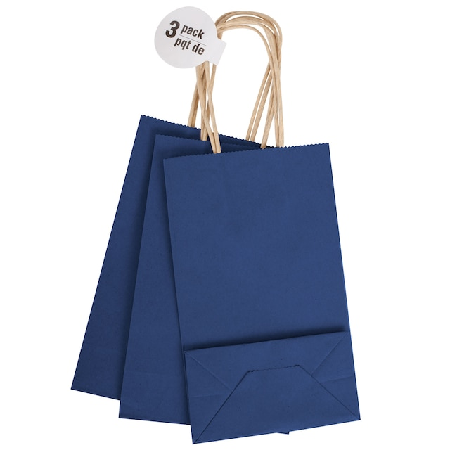 Small Royal Blue Kraft Paper Gift Bags 3 Ct Packs