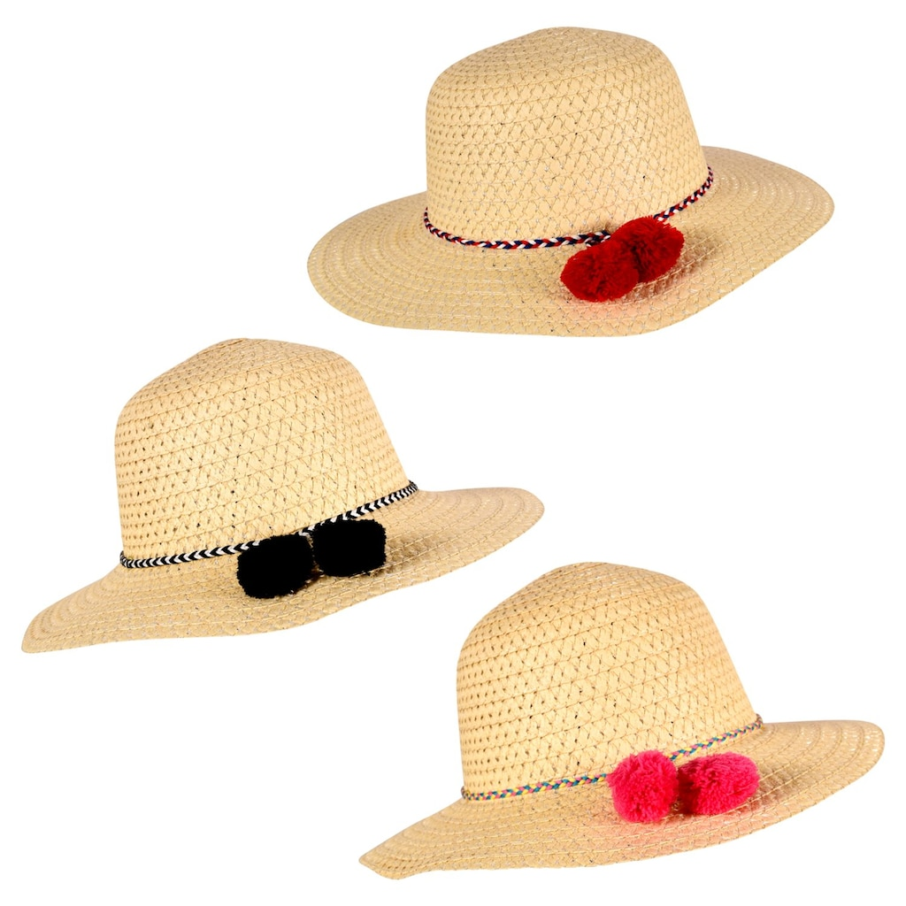 f0e8b142750e3 Summertime Straw Hats with Colored Pom Poms