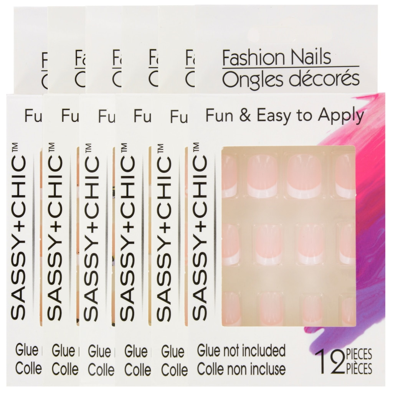 Sassy+Chic Glue-On French-Tip Fashion Nails, 12-pc  Sets
