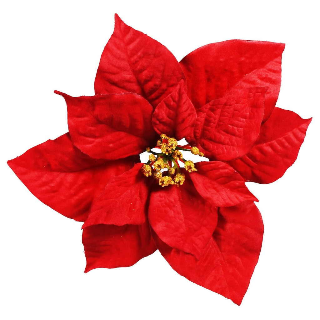 Merry By Christmas House Artificial Clip On Poinsettias 9 In