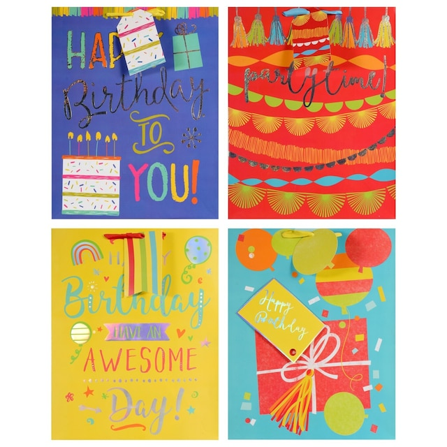 Voila Large Brightly Colored Happy Birthday Gift Bags