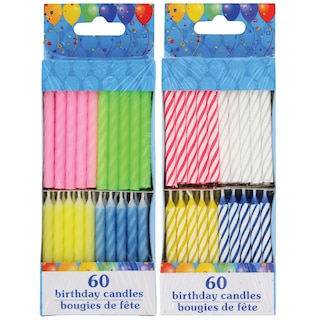 View Colorful Birthday Candles 60 Ct Packs