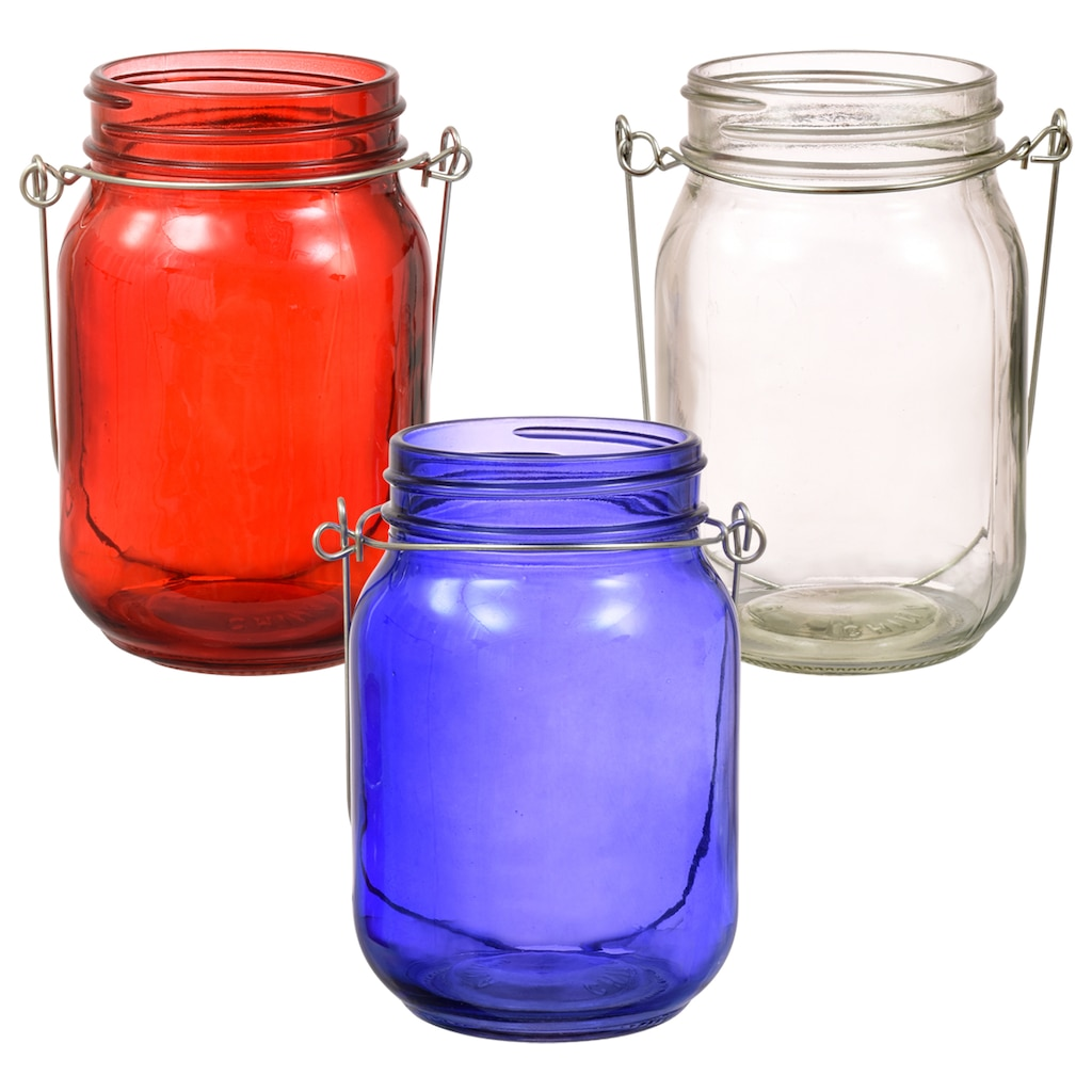 31650a110fa8 Translucent Glass Jar-Shaped Candle Holders with Metal Handles