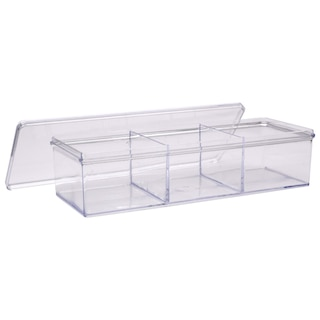 235323-Clear Plastic 3-Compartment Storage Trays with Lids