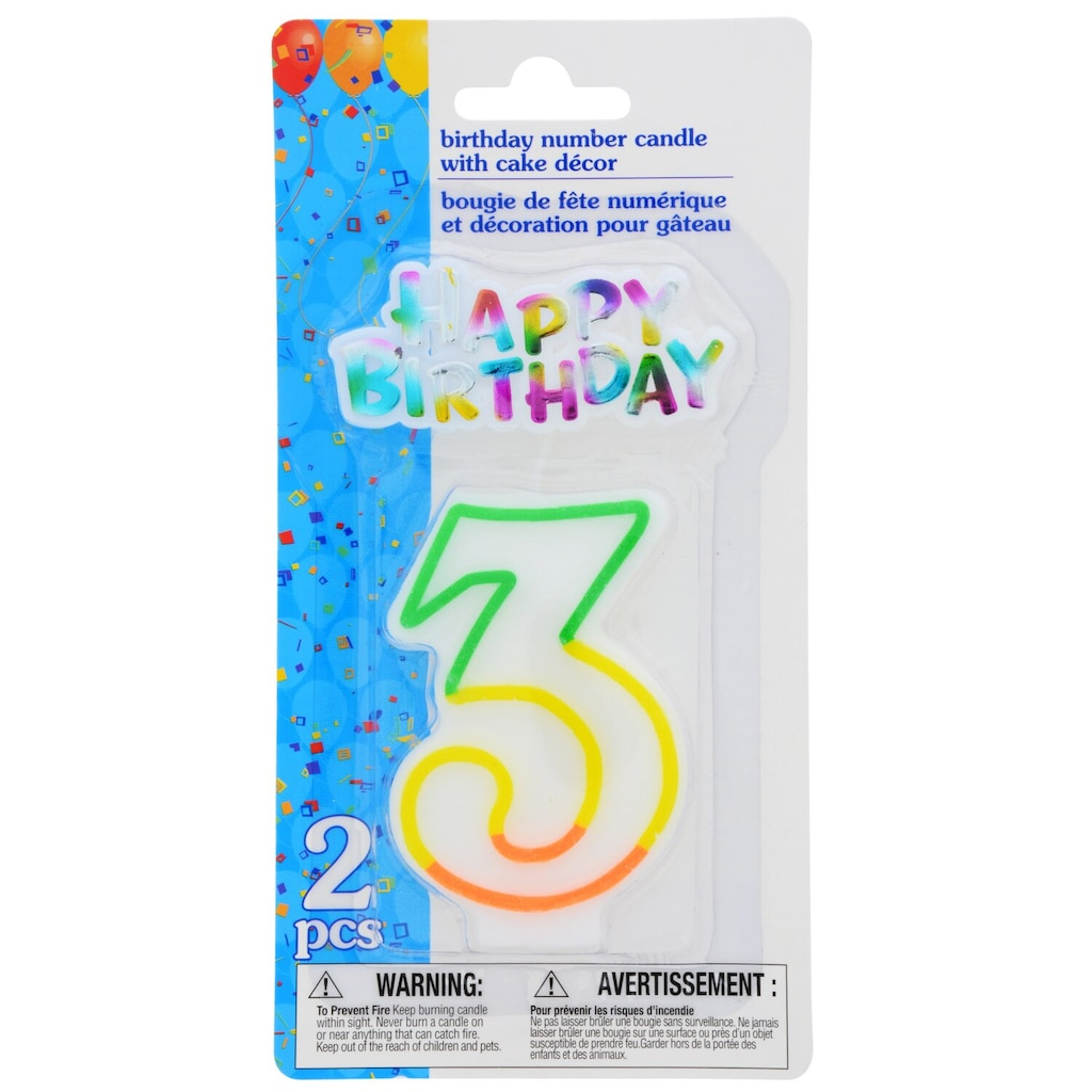 Number 3 Birthday Candles With Cake Dcor