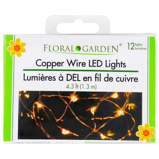 low priced 56c43 20a1e Floral Garden Silver and Copper Wired LED Lights, 4.3 ft.