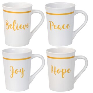 276841 white stoneware mugs with printed inspirational sayings