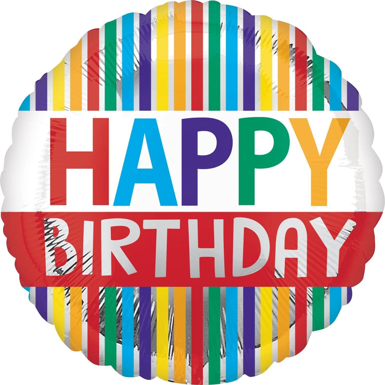 Star Shaped Rainbow Happy Birthday Foil Balloons 18 In