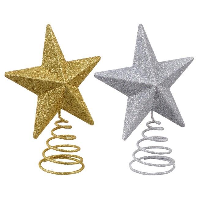 christmas house glittery mini metal star tree toppers - Mini Christmas Tree Topper