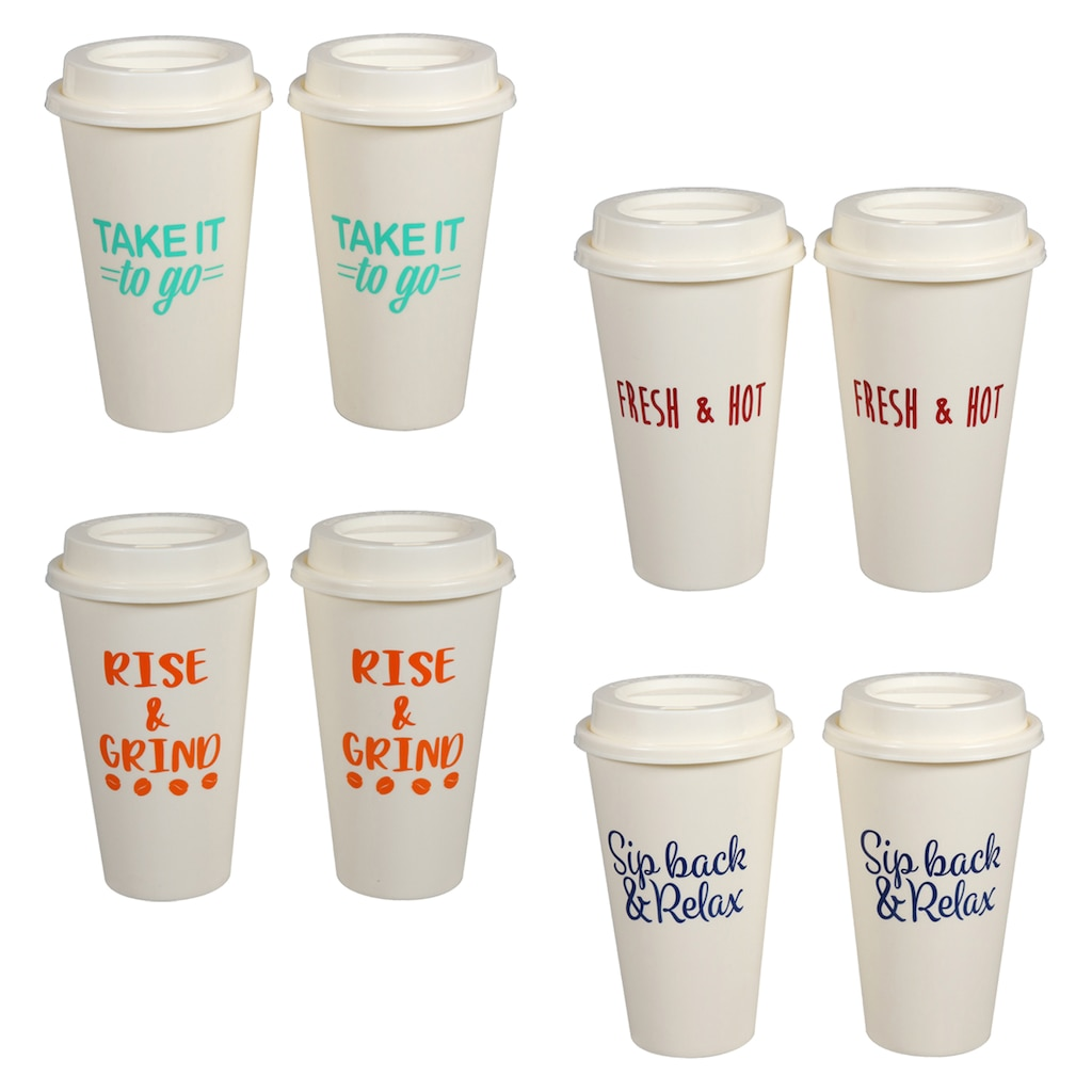 5b6b6cda54b Reusable Plastic Coffee Cups with Lids, 2-ct. Packs