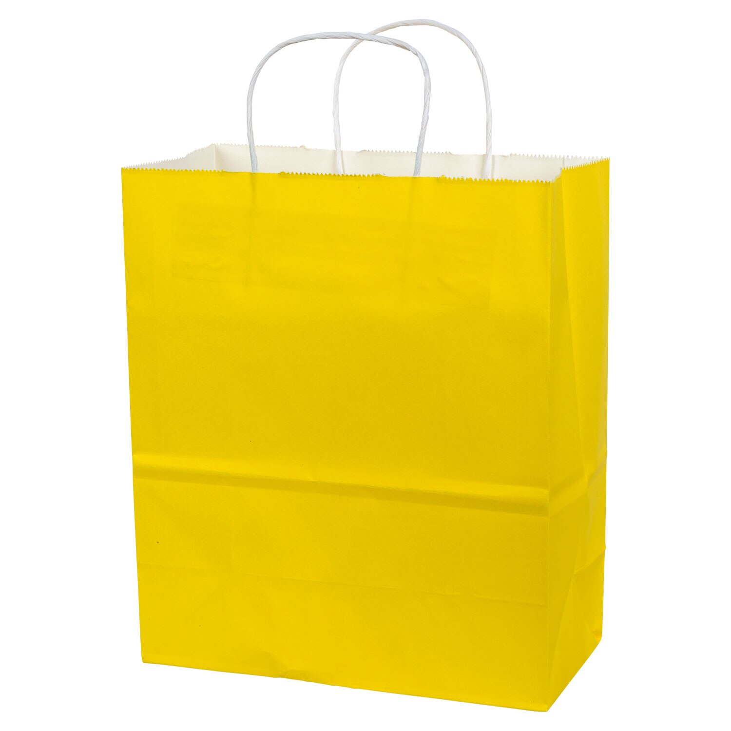 Voila Matte Yellow And White Kraft Large Gift Bags 10x12 In