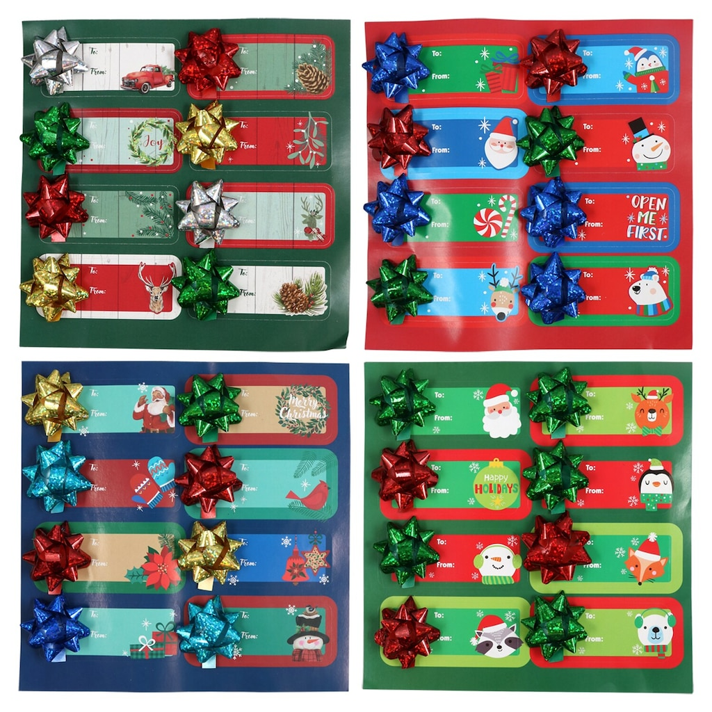 christmas house self adhesive gift tags with bows 8 ct packs - Decorative Christmas Gift Tags