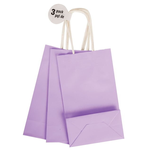Small Purple Kraft Paper Gift Bags 3 Ct Packs