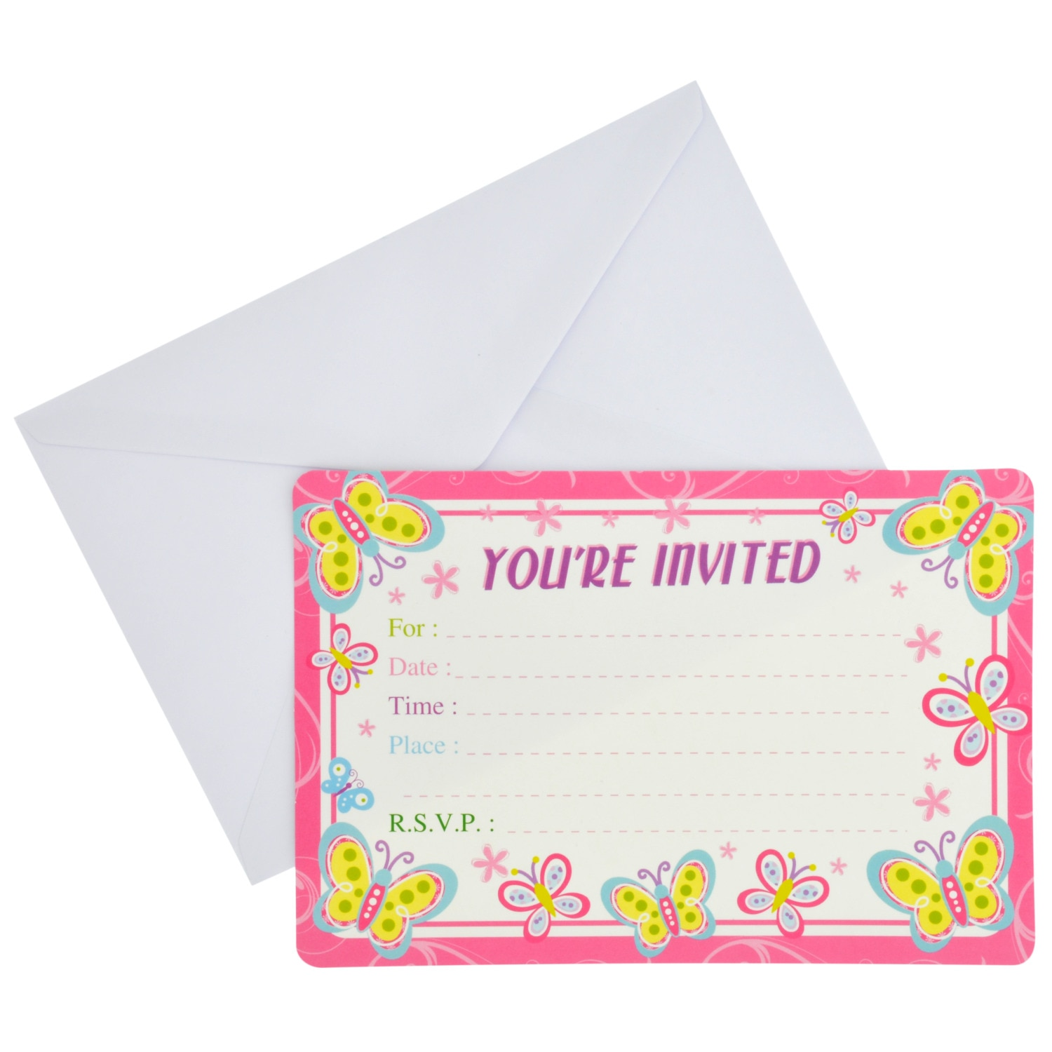 Dollartree Com Happy Birthday Butterfly Party Invitations With