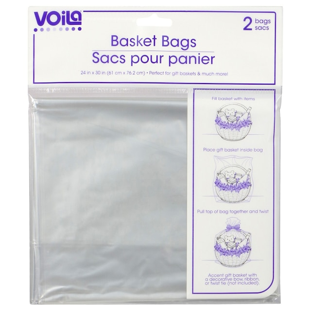 Clear Plastic Basket Bags 2 Ct Packs