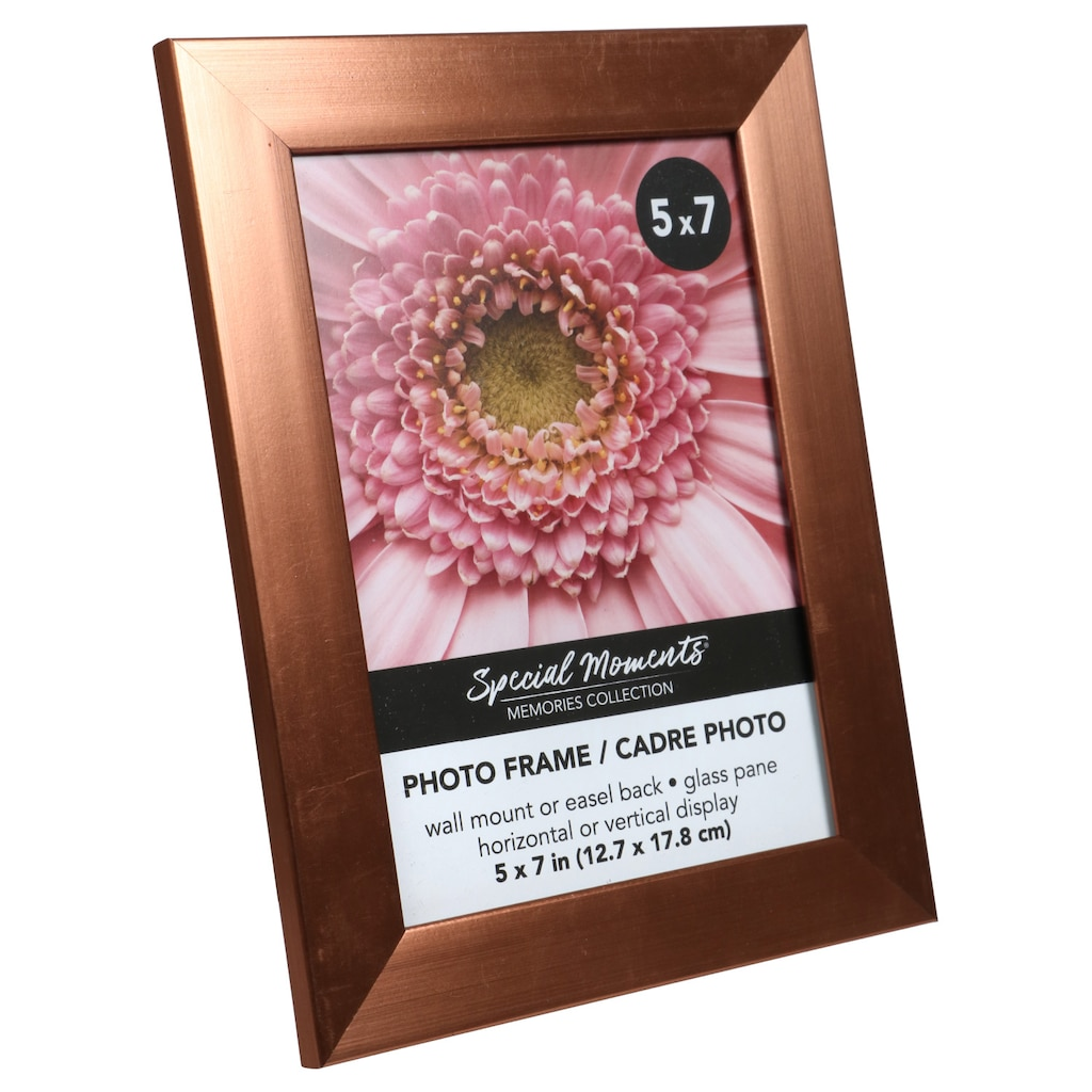 Special Moments Contemporary Rose Gold Plastic Photo Frames 5x7 In