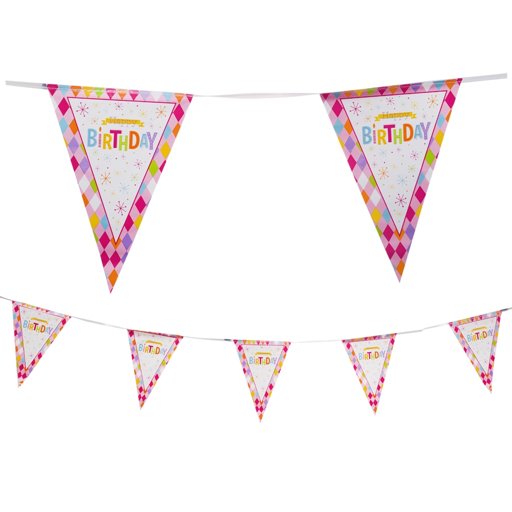 Happy Birthday Butterfly Flag Banners 12 Ft