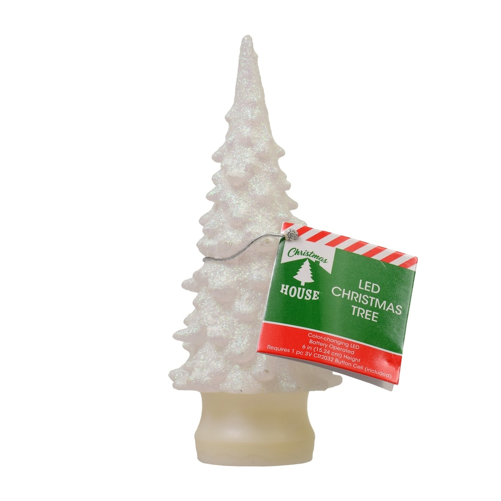 led christmas tree w glitter - Battery Operated Christmas Trees