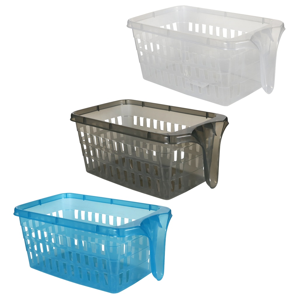 Rectangular Slotted Baskets With Single End Handles