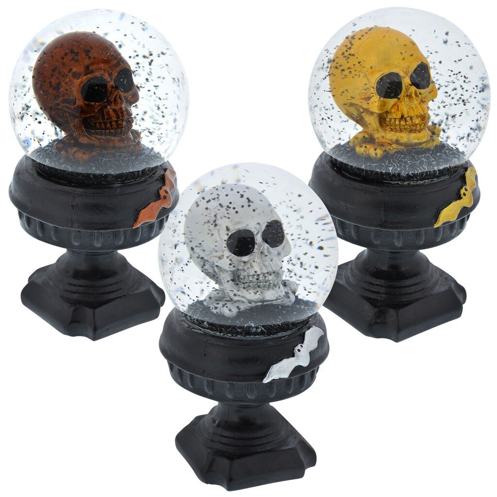 glass halloween water globes with polyresin skulls