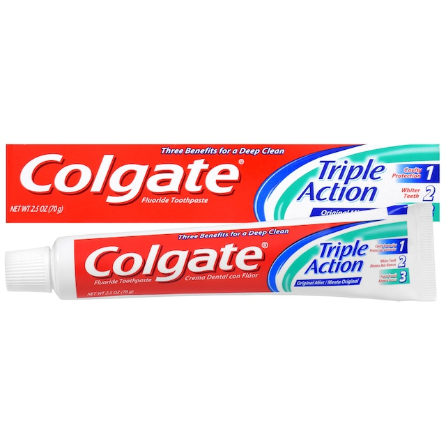 Colgate Triple Action Fluoride Toothpaste in Original Mint, 2 5-oz  Tubes