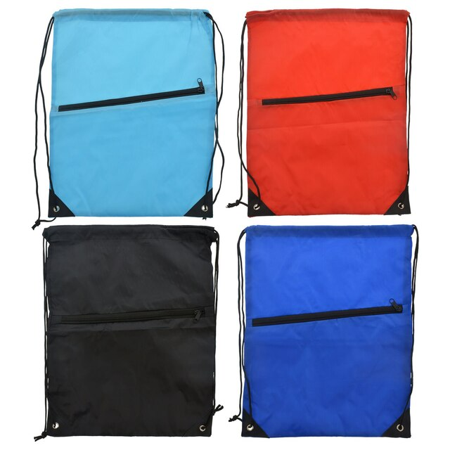 Lightweight Drawstring Backpacks with Zippered Pocket ae175c5568