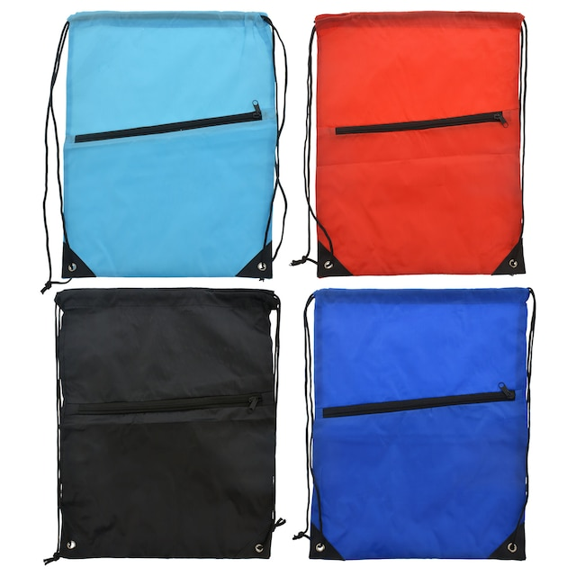 47681ee0dc7e Lightweight Drawstring Backpacks with Zippered Pocket