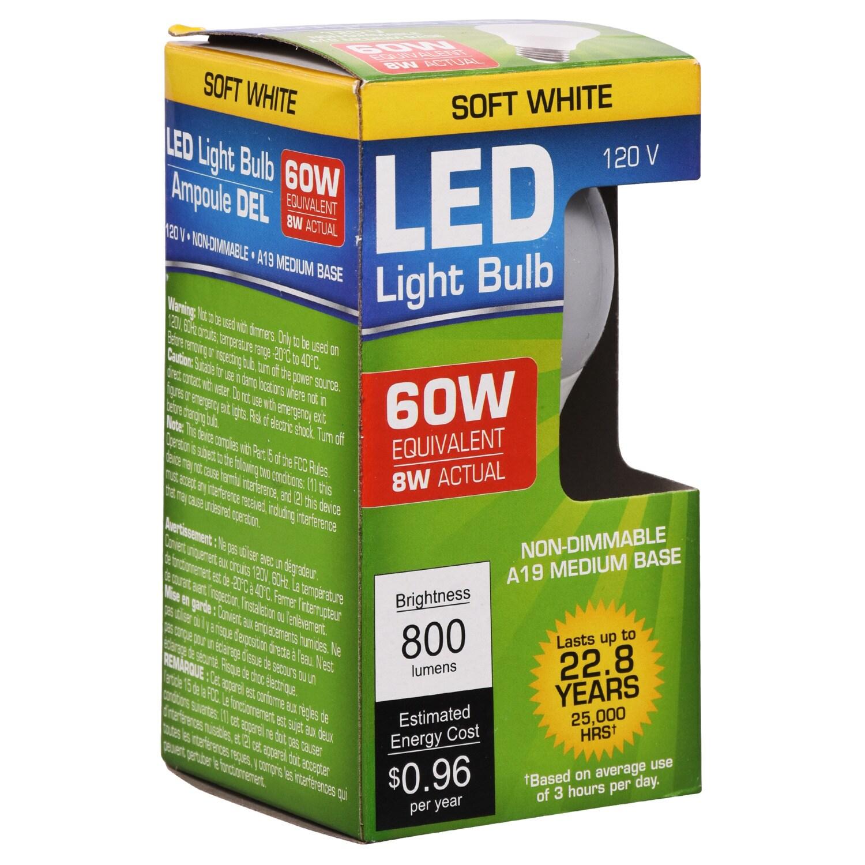 Warm White 60 Watt Equivalent Medium Base Led Lightbulbs