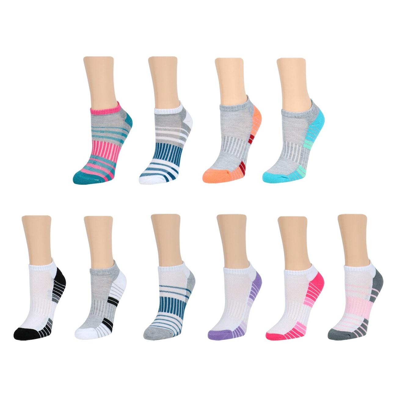 8df1678bd2d3d Ladies Size 6-11 Colorful No-Show Sport Socks, 2-ct.