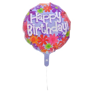 Floral Birthday Foil Balloons 18 In Product Image