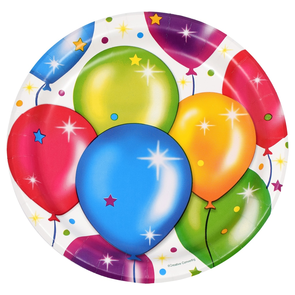 Birthday Balloon Paper Party Plates 18 Ct Packs