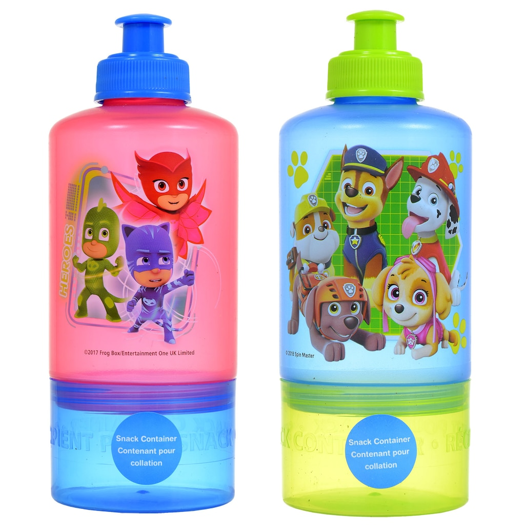 Licensed Character Water Bottles with Attached Snack Containers