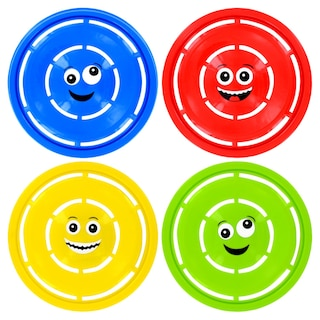 Brightly Colored Flying Disks with Silly Emoticon Faces, 11.5 in.