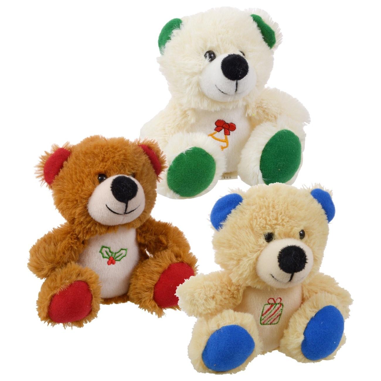 christmas house plush sitting holiday bears 6 in - Christmas Plush Toys
