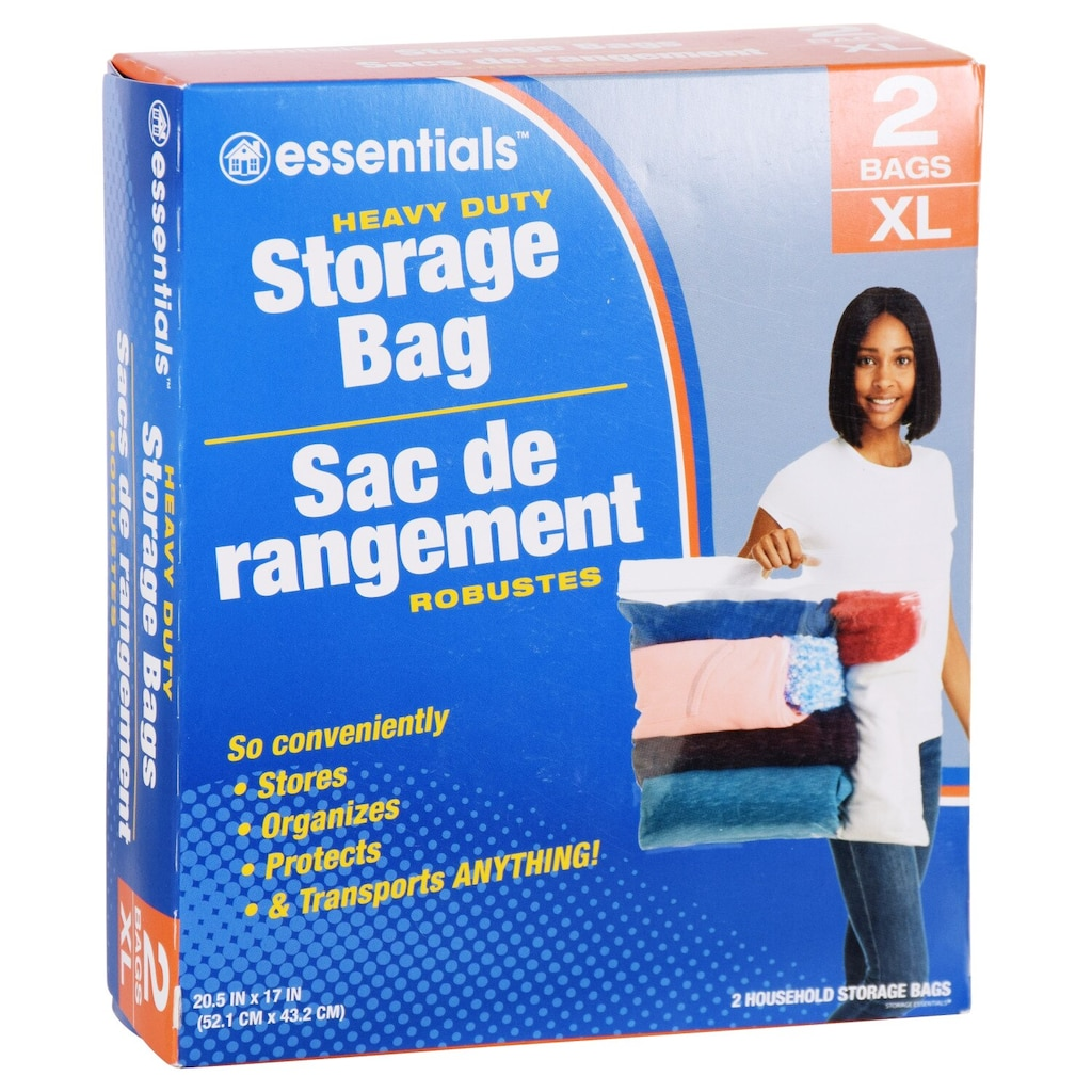 Essentials Extra Large Plastic Storage Bags With Handles 2 Ct Bo