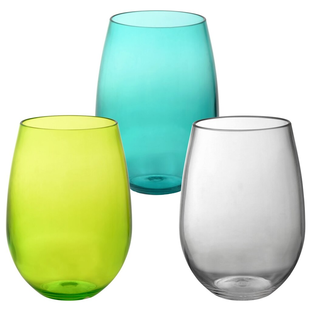 Colorful Stemless Plastic Wine Gles 20 Oz