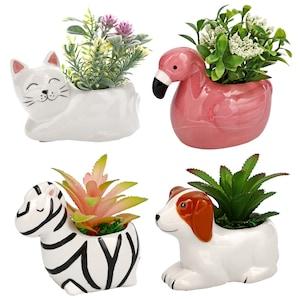 Ceramic Animal Planters, 5.125x3.5x4.125 in.