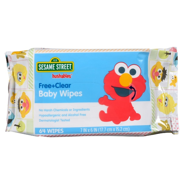 Bulk Sesame Street Hushables Free Clear Baby Wipes 64 Ct