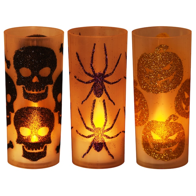 Halloween Inspired Glitter Candleholders with LED Tealights