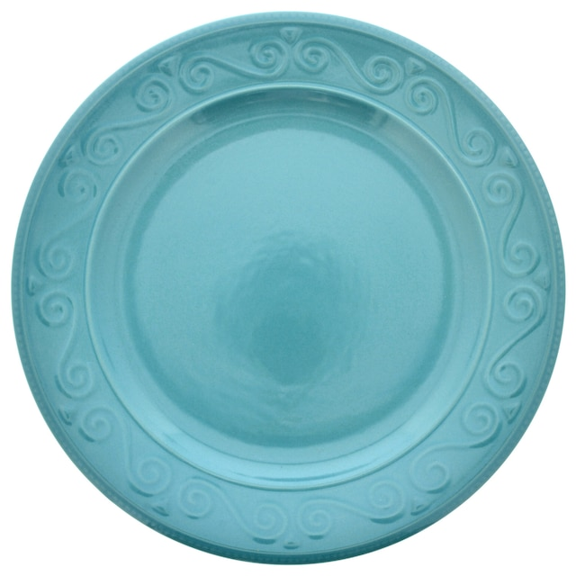 7c32557e26be View Turquoise Embossed Scroll Pattern Stoneware