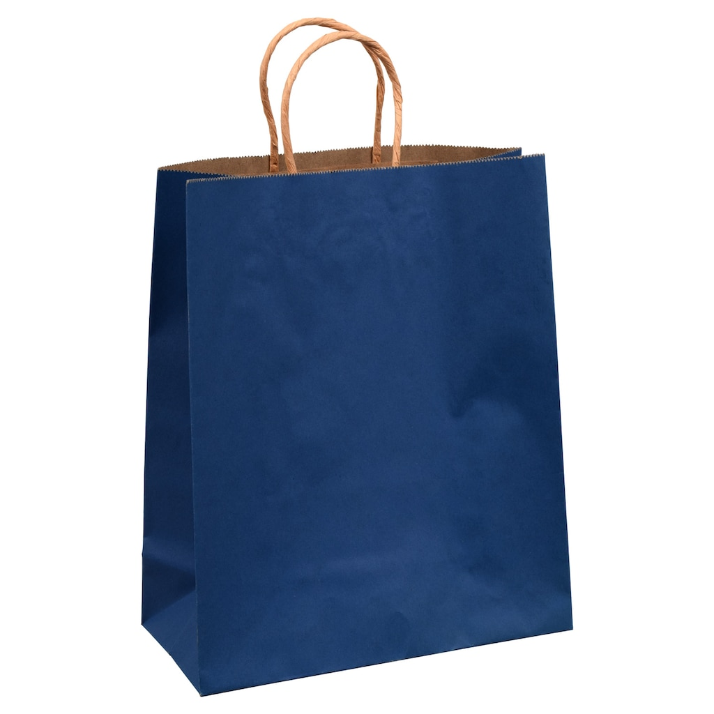 Voila Matte Royal Blue And Brown Kraft Large Gift Bags 10x12 In