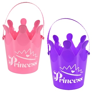 Plastic Princess Crown Pails with Handles