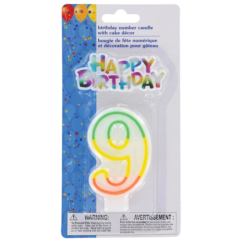 Number 9 Birthday Candles With Cake Decor