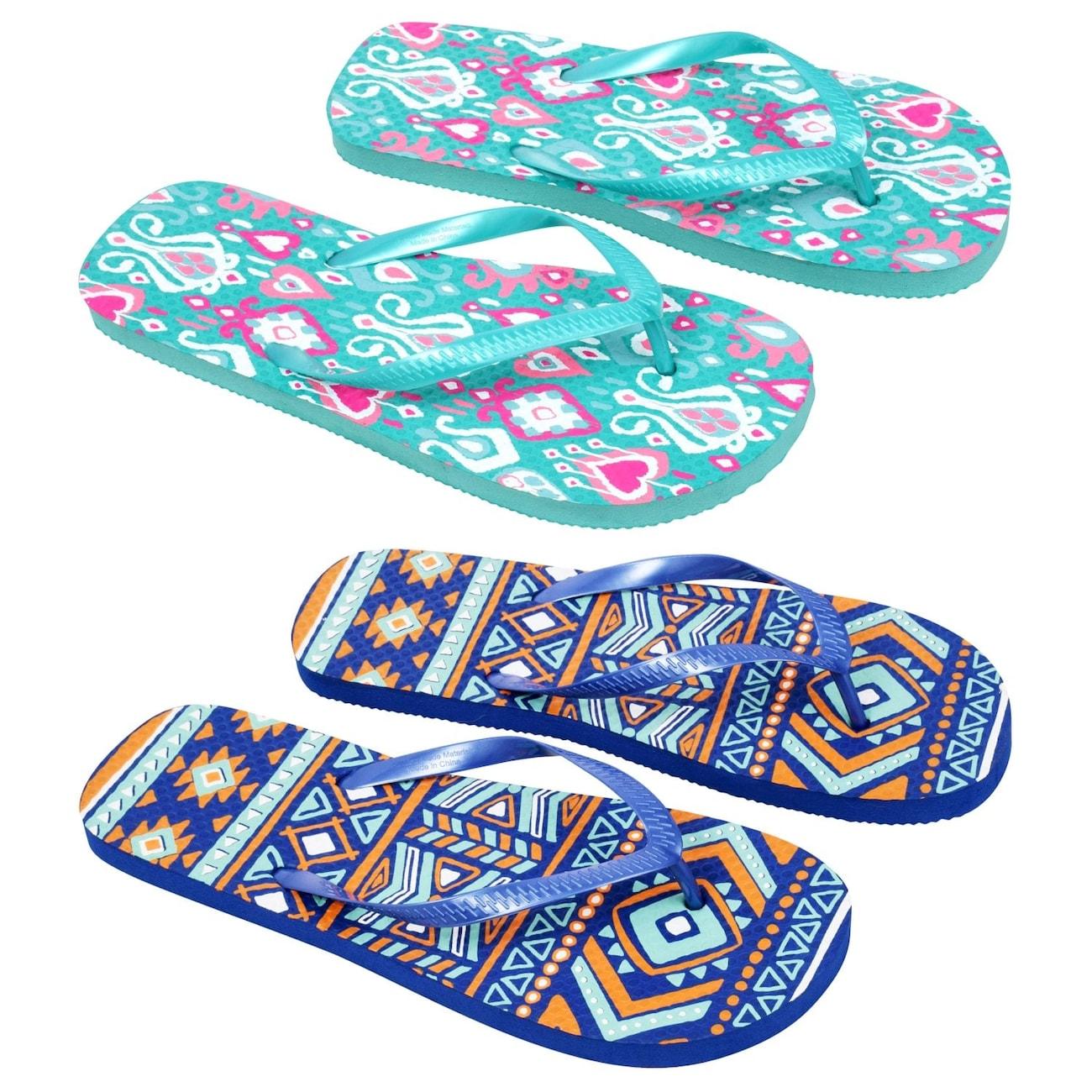 c2a08a9b79afa Ladies  Tribal Print Rubber Flip-Flops