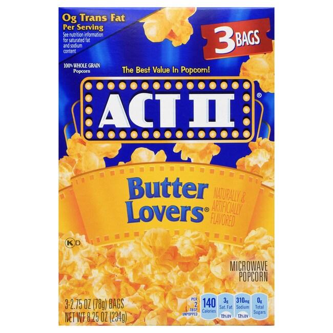 Act 2 Er Microwave Popcorn 3 Ct Bo