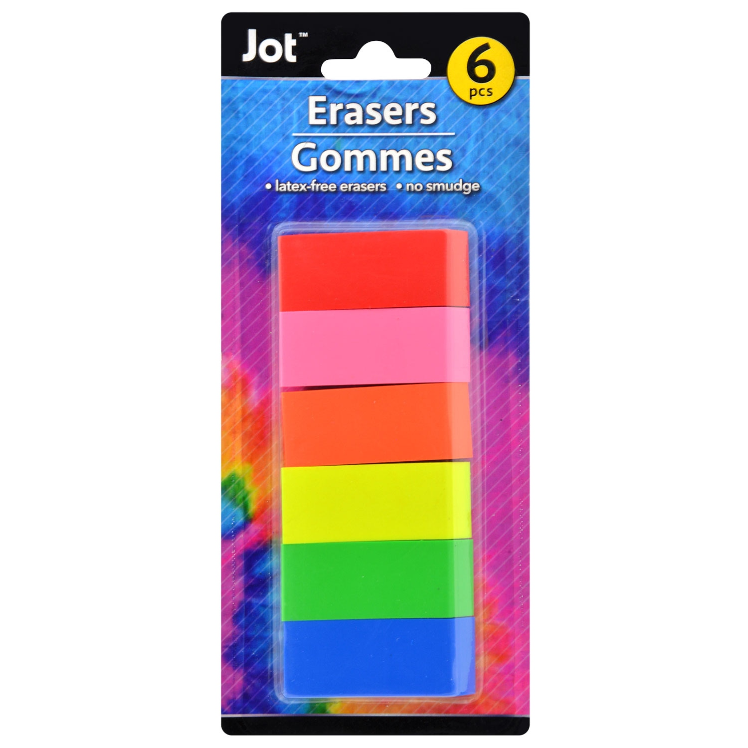 View Bright Beveled Neon Erasers, 6-ct.